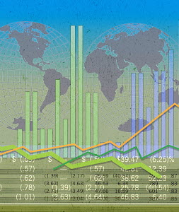 World map with stock market data and graphs