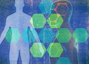 Geometric pattern over male human body silhouette - Geometric pattern over male human body silhouette
