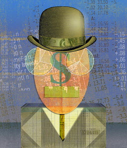 Finance data forming anthropomorphic face of businessman