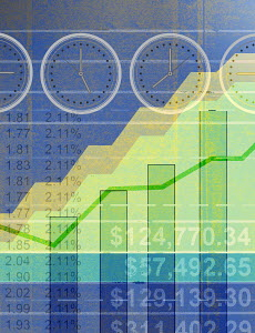 Financial figures, graphs and international time zone clocks