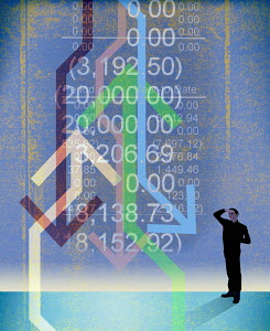 Man looking at confusing financial figures with arrows going up and down