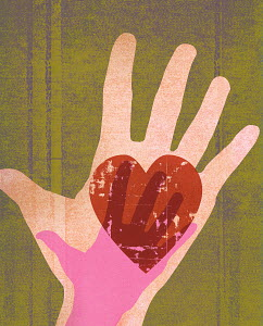 Large hand with heart and small hand