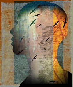 Birds flying inside of man's head