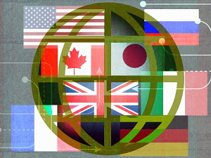 Arrows in different directions over globe with flags of various countries