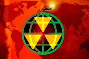 Globe as bomb with lit fuse and radioactivity warning symbol
