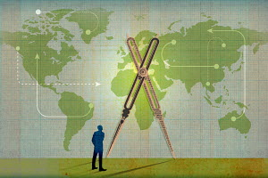 Businessman looking at arrows, connections and pair of compasses on world map