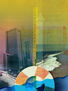 Collage of city skyscrapers, ledger and life ring in sea with ruler measuring rising waves