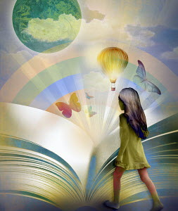 Young girl entering colorful world inside of large book