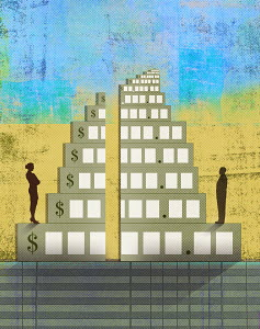 Businessman and businesswoman with unequal share of wages pyramid