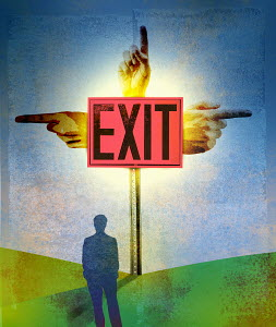 Businessman looking at confusing exit sign with hands pointing in different directions