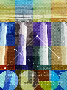 Businessman analyzing data in finance and banking collage