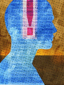 Exclamation mark and data inside of man's head