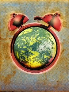 Alarm clock around globe