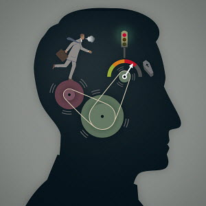 Overworked out of breath businessman running on pulley wheels with red warning gauge inside of profile of man's head