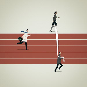 Business people moving finishing line for doctor on running track
