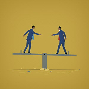 Two businessmen reaching to shake hands balancing on seesaw