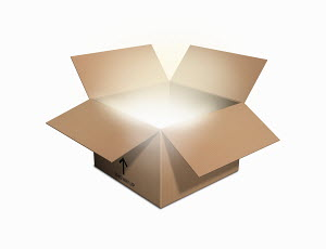 Light glowing from open cardboard box