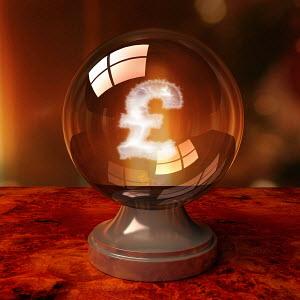 British pound symbol inside crystal ball