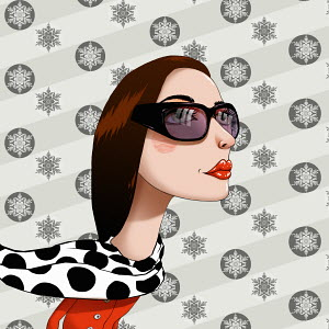 Woman wearing sunglasses in front of snowflake pattern