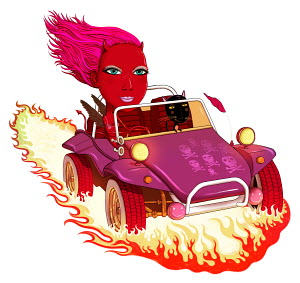Woman with devil horns riding in dune buggy with cat