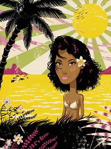 Portrait of serious beautiful woman in bikini on tropical coast