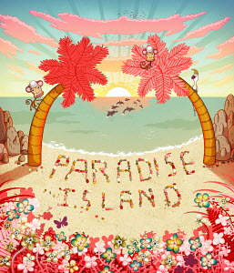 �Paradise Island� written in pebbles on colorful tropical beach