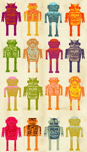 Pattern of variety of robots in a row