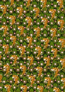 Repeat full frame tiger jungle pattern