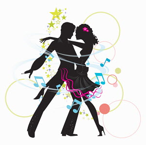 Music notes and stars around silhouette of couple ballroom dancing the tango