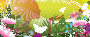 Silhouette of happy woman holding butterfly in colorful summer flowers