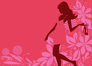 Glamorous woman silhouette holding high heel shoe with pink flower pattern background
