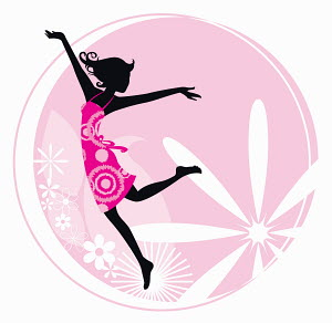 Exuberant woman dancing with flower pattern background