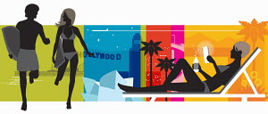 Colorful montage of couple with surfboards, woman in lounge chair and Hollywood sign
