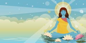 Sunbeams and lotus flowers surrounding woman meditating in lotus position