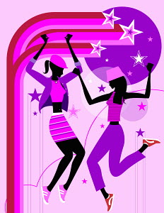 Stars surrounding energetic women dancing