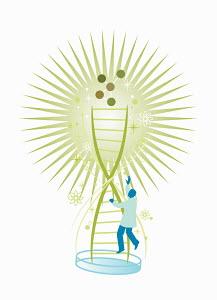 Scientist climbing double helix