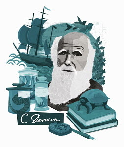 Montage of Charles Darwin, natural science and discovery