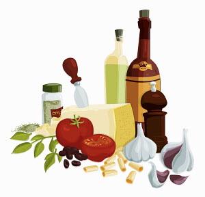 Fresh Italian cooking ingredients