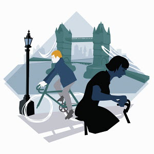 Man and woman riding bicycles in London near Tower Bridge