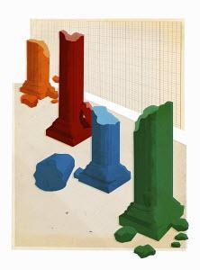 Bar chart of crumbling multicolored columns forming bar chart
