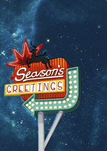 Christmas �Season�s Greetings� neon sign with reindeer and arrow