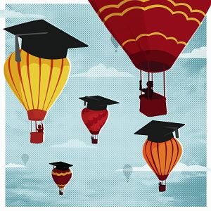 Graduates in hot air balloons with mortar boards