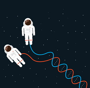 Double helix hose connecting to astronauts spacewalking in space suits