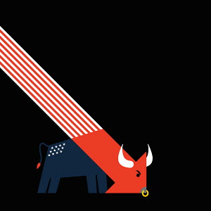 American flag and descending arrow forming bull