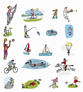 Montage of people enjoying variety of recreational pursuits