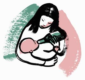 Woman feeding baby from wine bottle