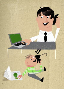 Child imitating working father multitasking using phone and laptop