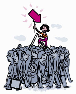 Woman on ladder holding pink arrow standing out from the crowd below