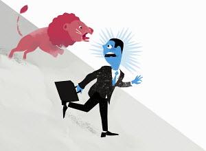Fierce lion chasing scared businessman