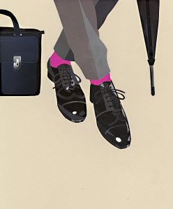 Businessman's shiny shoes, pink socks, briefcase and umbrella